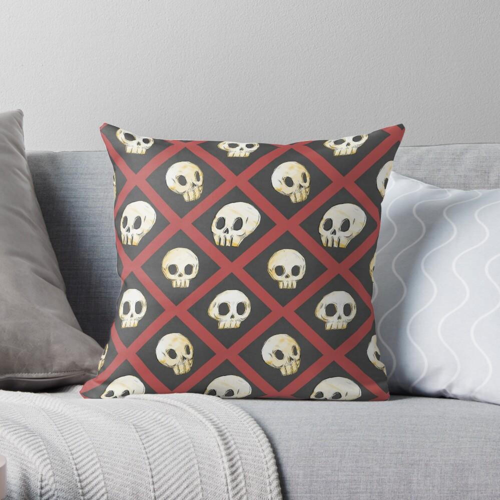 Tiling Skulls 2/4 - Red Throw Pillow