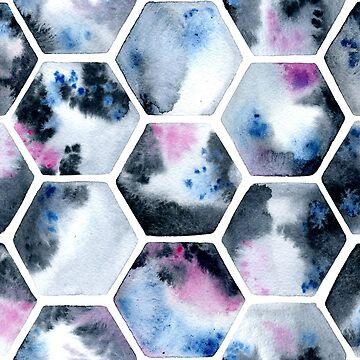 Watercolor hexagons by DariaNK