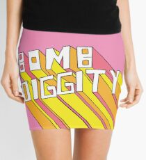 Retro Bomb Digity Words In Pink, Yellow, and Orange Mini Skirt
