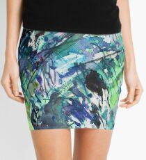 Blue/Green landscape - Original Abstract Watercolour by Francesca Whetnall Mini Skirt