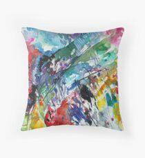 Rainbow landscape  - Original abstract watercolour by Francesca Whetnall Throw Pillow