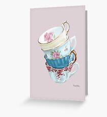 Lean on Me in Pink | Teacup Painting  Greeting Card