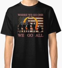 WHERE WE GO ONE WE GO ALL - military, soldiers, veterans, QANON, #QANON Classic T-Shirt