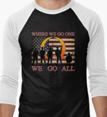 WHERE WE GO ONE WE GO ALL - military, soldiers, veterans, QANON, #QANON Men's Baseball ¾ T-Shirt