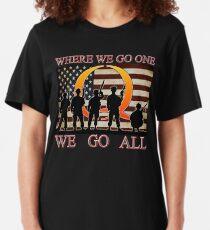 WHERE WE GO ONE WE GO ALL - military, soldiers, veterans, QANON, #QANON Slim Fit T-Shirt