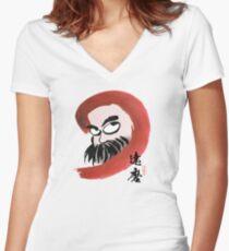 達磨 Daruma Women's Fitted V-Neck T-Shirt