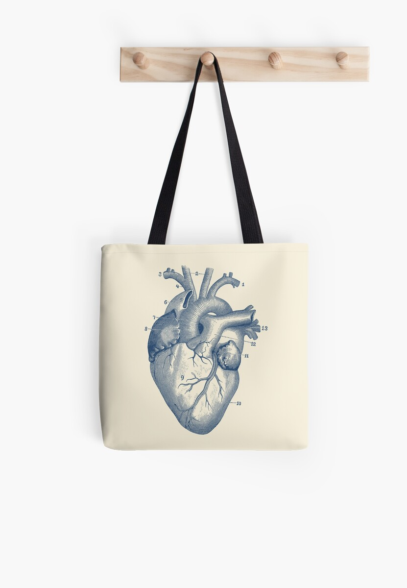 """human heart diagram - vintage anatomy """" tote bags by vaposters"""