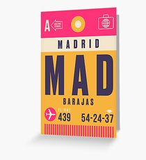 Retro Airline Luggage Tag - MAD Barajas Airport Madrid Spain Greeting Card