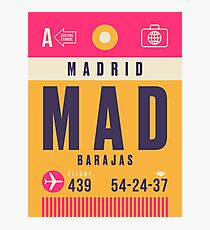 Retro Airline Luggage Tag - MAD Barajas Airport Madrid Spain Photographic Print