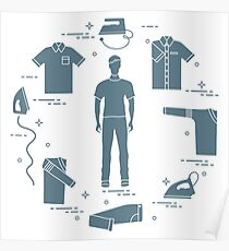 Silhouette of a man, irons and different clothes. Poster