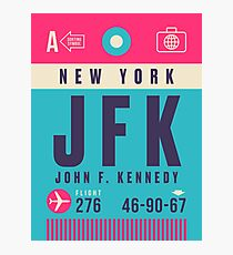 Retro Airline Luggage Tag - JFK Airport New York USA Photographic Print