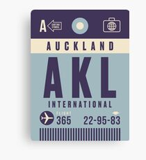 Retro Airline Luggage Tag - AKL Auckland Airport New Zealand Canvas Print