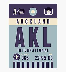 Retro Airline Luggage Tag - AKL Auckland Airport New Zealand Photographic Print