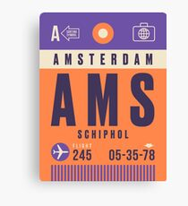 Retro Airline Luggage Tag - AMS Amsterdam Airport Schiphol Netherlands Canvas Print