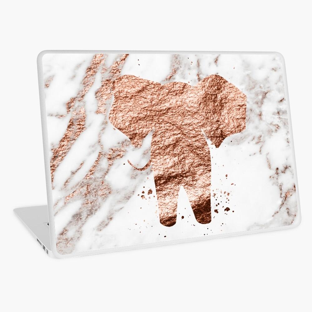 Elefant - Roségold Marmor Laptop Folie