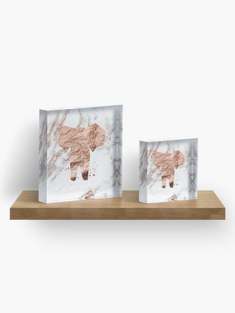 Alternative Ansicht von Elefant - Roségold Marmor Acrylblock