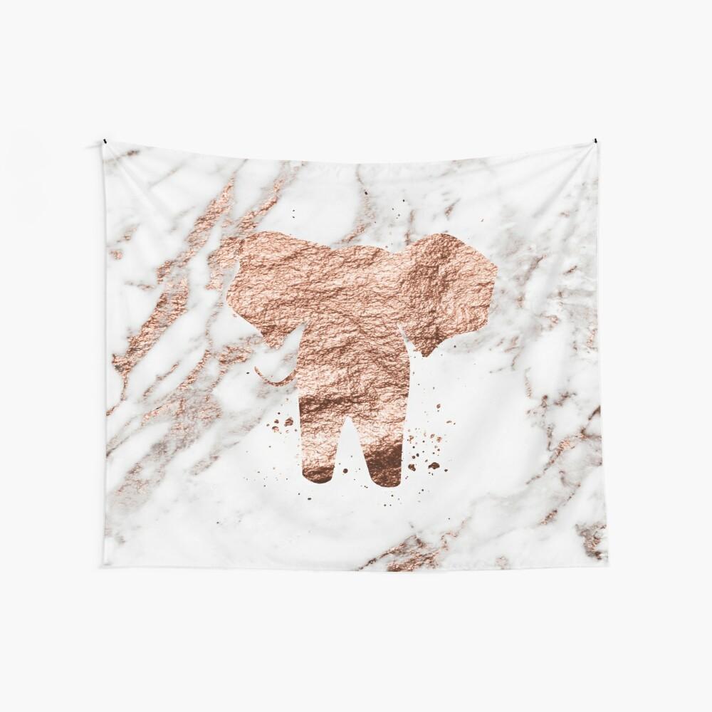 Elefant - Roségold Marmor Wandbehang