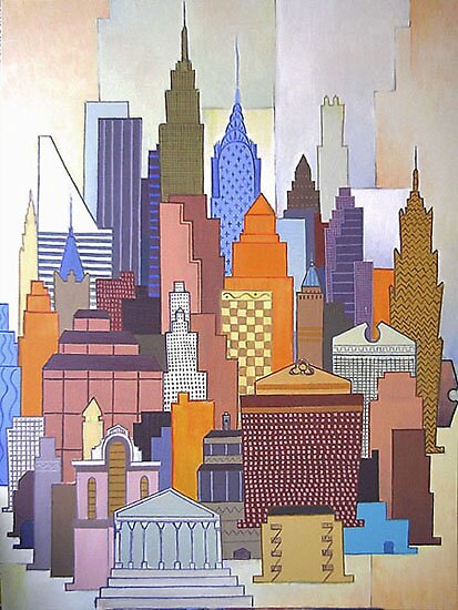 Constructivist composition with New York architecture by Franko Camue