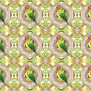 Wallpaper pattern design Bling Birds 13 Edouard Artus by EdouardArtus