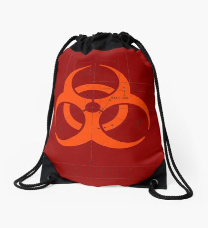 Biohazard warning sign with dimensions Drawstring Bag