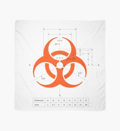 Biohazard warning sign with dimensions Scarf
