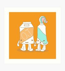 The Cutest Couple: Orange Juice & Toothpaste Art Print