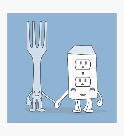 The Cutest Couple: Fork & Electrical Outlet Photographic Print