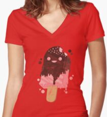 ice cream party summer ice cream heat holidays ice cream parlour Women's Fitted V-Neck T-Shirt