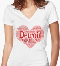 Heart of Detroit Big Heart Word Cloud Products Women's Fitted V-Neck T-Shirt