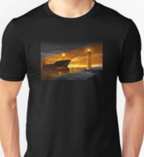 Lighthouse with tanker at night Unisex T-Shirt