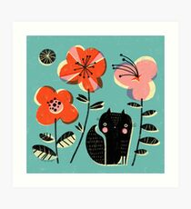 SQUIRREL & FLOWERS Art Print