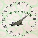 I Love Planes - Concorde Clock with Roman Numerals by ipgphotography