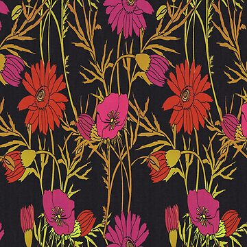 Pink and Red Modern Floral Pattern by longdistgramma