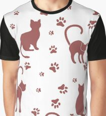 Seamless pattern with cats and traces. Graphic T-Shirt