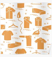 Pattern with irons, hangers and different clothes. Poster