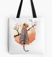 Tiger at the sakura's tree Tote Bag