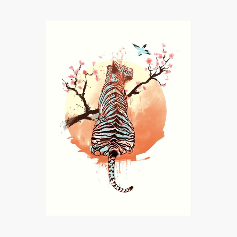 Tigre en el árbol de sakura Lámina artística