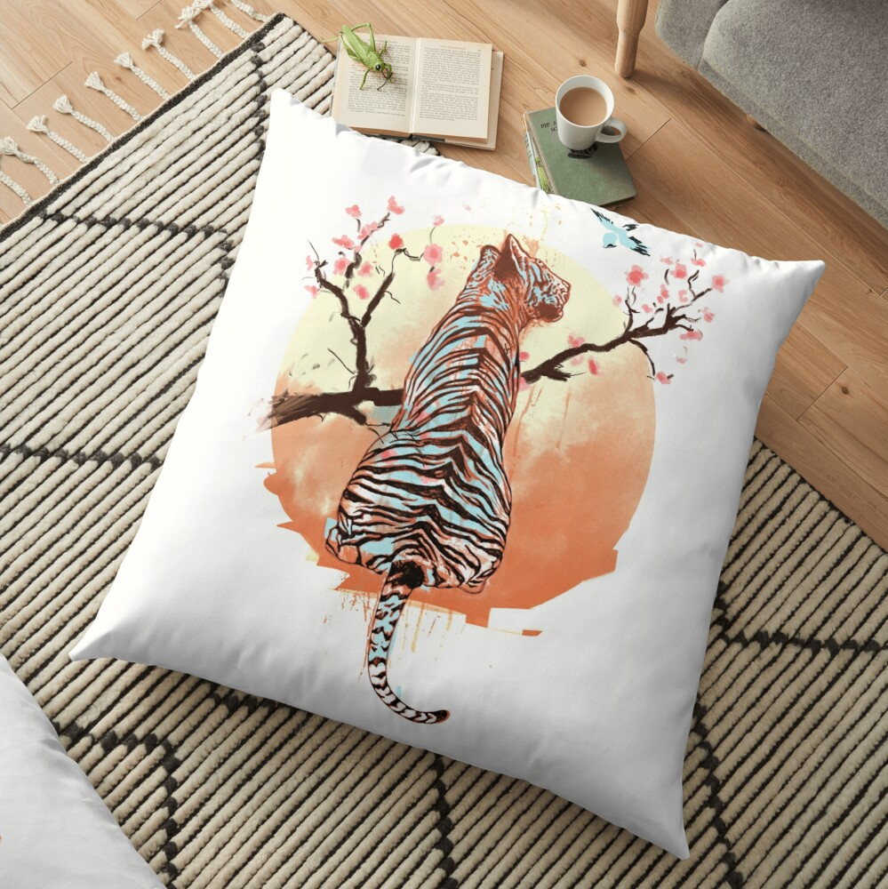 Tiger at the sakura's tree Floor Pillow