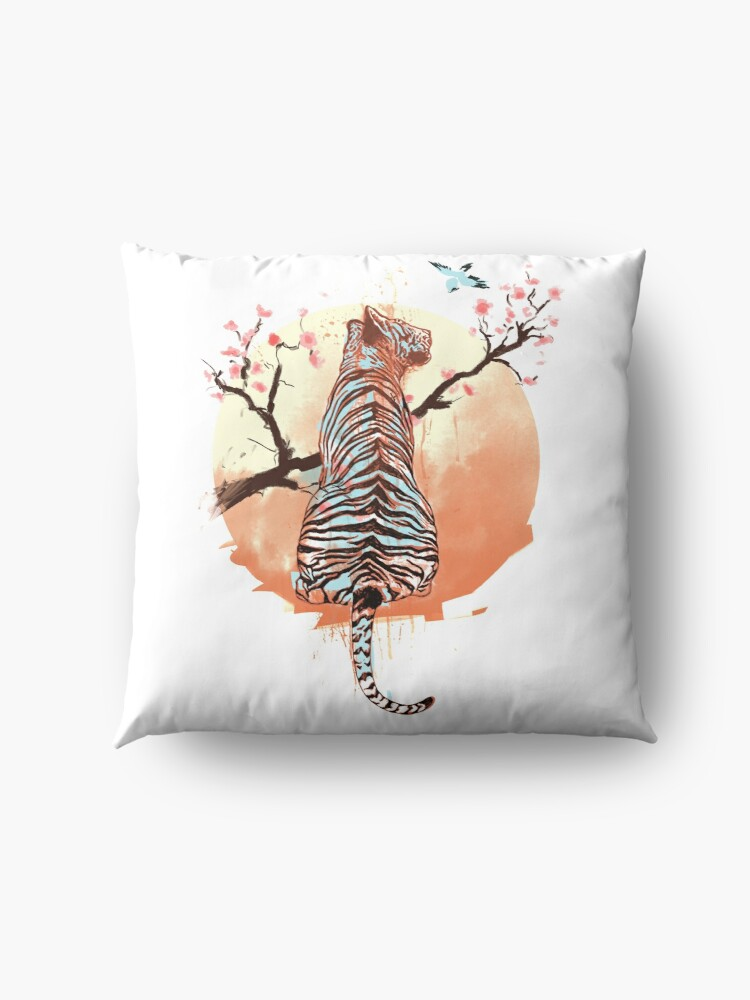 Alternate view of Tiger at the sakura's tree Floor Pillow