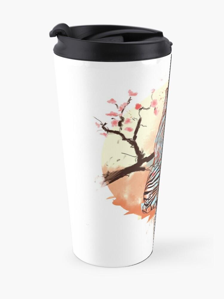 Vista alternativa de Taza de viaje Tigre en el árbol de sakura