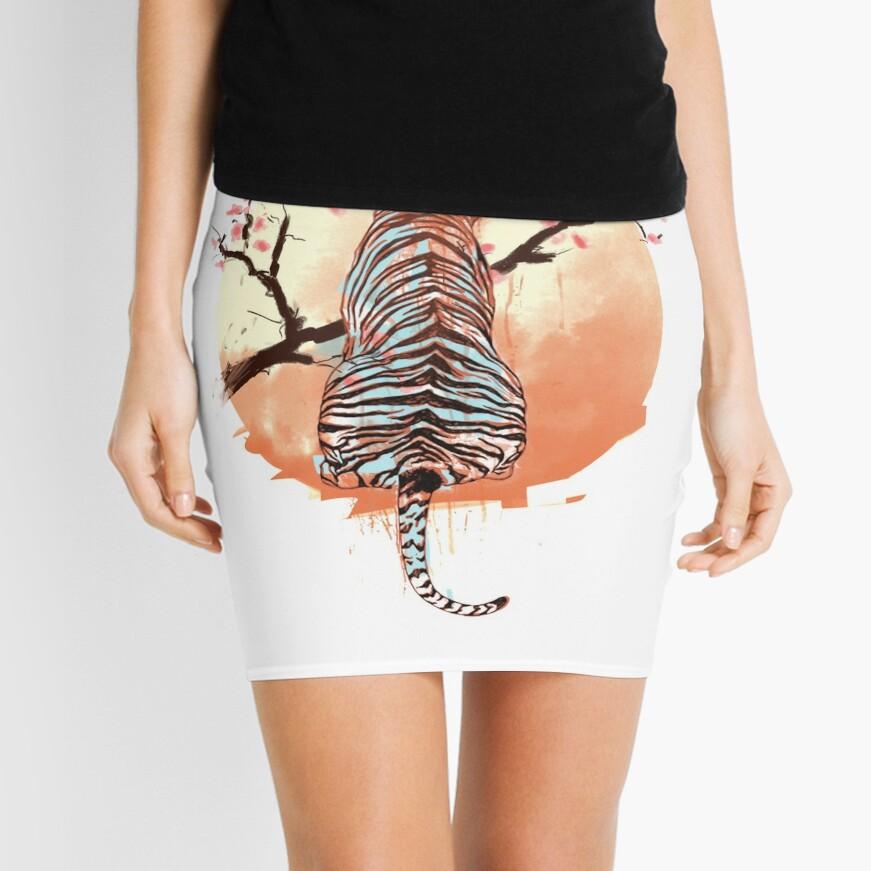 Tigre en el árbol de sakura Minifalda