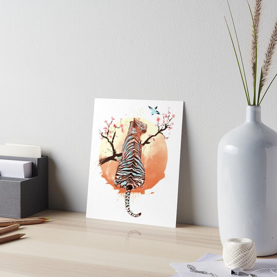 Tiger at the sakura's tree Art Board Print