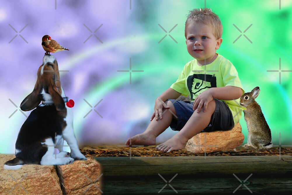 Little boy and his darling friends by Michelle *