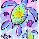 Sea Turtle and Sun Abstract Glitch Ultraviolet Symbol  by BluedarkArt