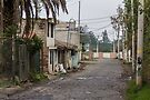 Rural street with buildings and utility poles in Puembo, Ecuador by Kendall Anderson