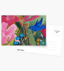 Bluebird and Royal Pink Robe Flowers Postcards
