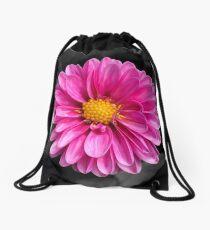 Bright pink flower with black background Drawstring Bag