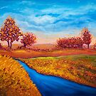 Golden Autumn landscape by Art Dream Studio
