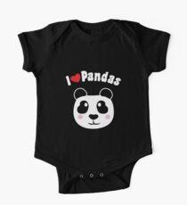 I Love Heart Pandas Panda Bear Heart Design One Piece - Short Sleeve