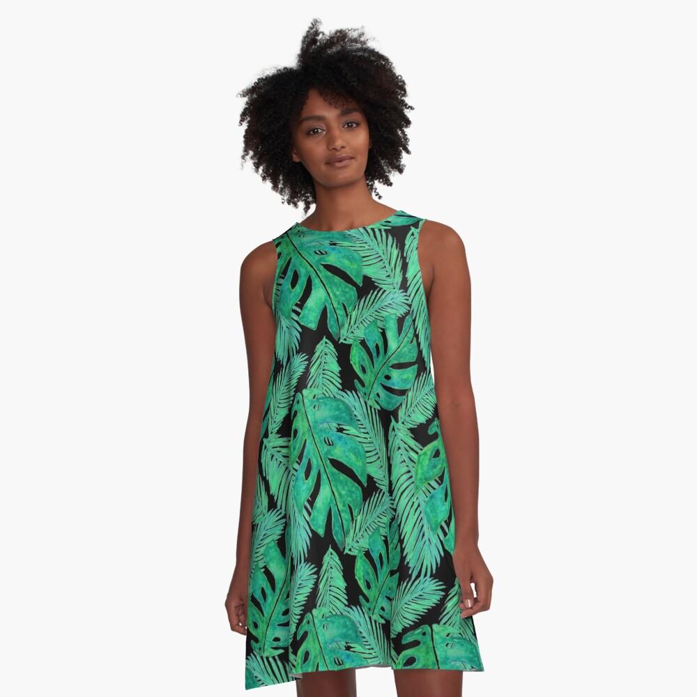 Tropical Monstera Pattern Black A-Line Dress Front